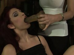Mandy Bright force a dildo to hot babe's mouth