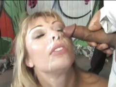 Adrianna Nicole filled with lost of cum on her face