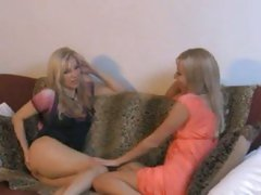 Aaliyah Love with other hot blonde on couch