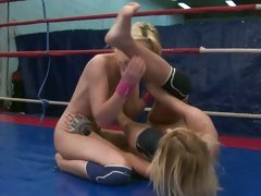 Nataly Von and Nikky Thorne fight naked in the ring