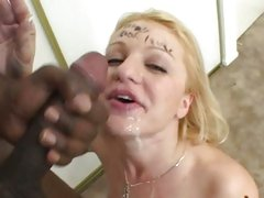 Jessica Dee drinking the warm cum of a hard cock