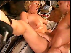 Buxom curly chick works with both holes