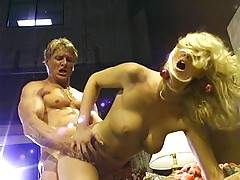 On the set with sexy blonde