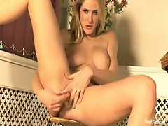 Fucking her hole with a crystal dildo