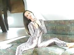 Girl stripping spandex