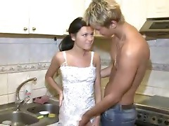 Anal sex inside kitchen