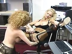 Ginger lesbian nymph has ass eaten