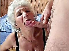 Nasty grandma schlong drilled