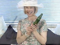 Horny Granny cucumber cookie dicking