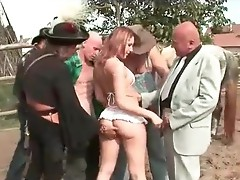 Four men fucking and pissing onto smut girl