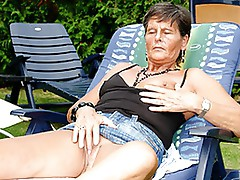 Grey-haired grAnny Sofie gets a double dipping of big Jock
