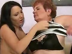 Fat grandma appreciates lesbian sex involving nymph