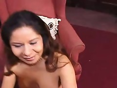 Babe receives down onto her knees and touches this huge chocolate knob!