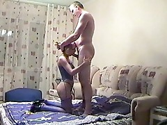 She is swallowing oustanding rod
