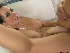 Sexy brunette Jayden Jaymes is sucking a huge wang