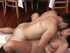 Milf flirting with the waiter finishes on the floor fucking!