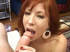 Fiery ginger mom beside bigboobs sucking