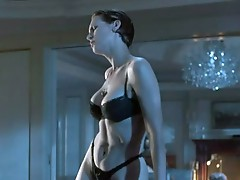 JAmie Lee curtis doing the sexy Dance inside a chocolate bra, thong underwear. JAmie Lee reveals lots of cLeAvage, a great shape inside this celebra-g