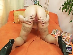 Hairy twat grandma in stockings Kinky sex tool fuck