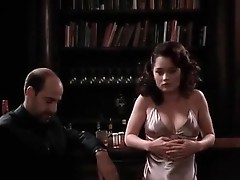 Robin Tunney of the craft fame wearing a neglige and showing some Nice cLeAvage as she sits reading and then gets up to talk to a chap for a wHile. fr