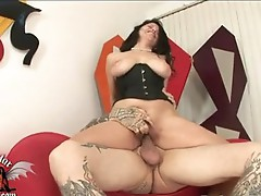 Saucy cute Evie DEllatossa sits her sTeAmy moisted taco onto the ramrod and bounces onto it