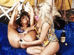 Two youthful sweethearts tame each others horny and throbbing pussies.