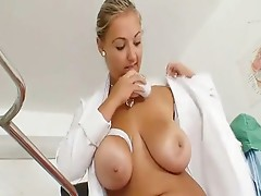 Big tits plump nurse Donna has nasty inside hospital