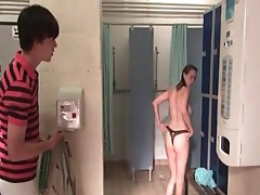 Siwan Morris in nature's garb in bathroom wHile a guy watches her. her breasts, butt, bush are visible in tgreetingss in nature's garb Movie