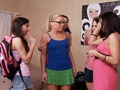 KrisTina Rose and 3 other Babes Sharing a ramrod