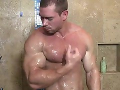 Beau warner flexes his biceps and triceps whilst thrashing his giant immense piece of meat.  that huge hard muscle Jock is all about having off.