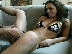 Sexy female domination having her pussy and feet eaten