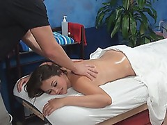 Allie allured and bumped by her massage therapist onto hidden camera