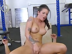 TheRealWorkout Tattooed big tits babe Christy Mack hardcore sports hall sex