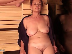 Mature ladies relaxing at an all dame sauna