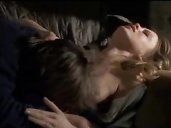 Susan George in whellote showdyrt with hard nipps being thrown down onto a couch by a guy who ripped her shirt to reveal her Mambos, then being forced