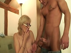 Come here u old doxy and engulf my cock dry!