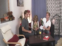 2 boyfrends pick up Mature and group sex her hard
