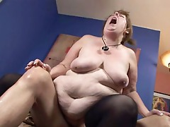 Large bulky woman engulfing dick & getting her pussy pounded!