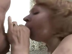 Granny two cocks in mouth