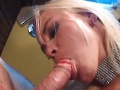 Spirited Blonde harlot engulfing a big penis with lust in a threesome