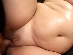 Preggy brunette three-some sex