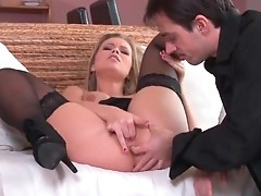 Women in sexy black lingerie having sex