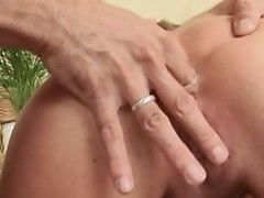 Raunchy slut getting round booty fingered doggy style