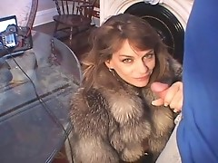 Chelsea in Fur Coat Sucks Dick