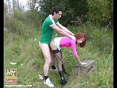Horny pickuper finds redhead slut for his tool