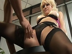 Milf in black stockings rides on a juicy stick