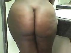 A big black ass in the bathroom