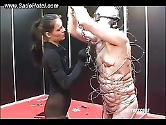 Sexy mistress hurting her poor slave
