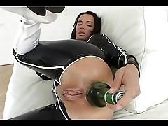 beer botlle in ass
