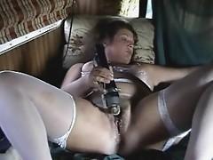 Older slut legs spread masturbating for all